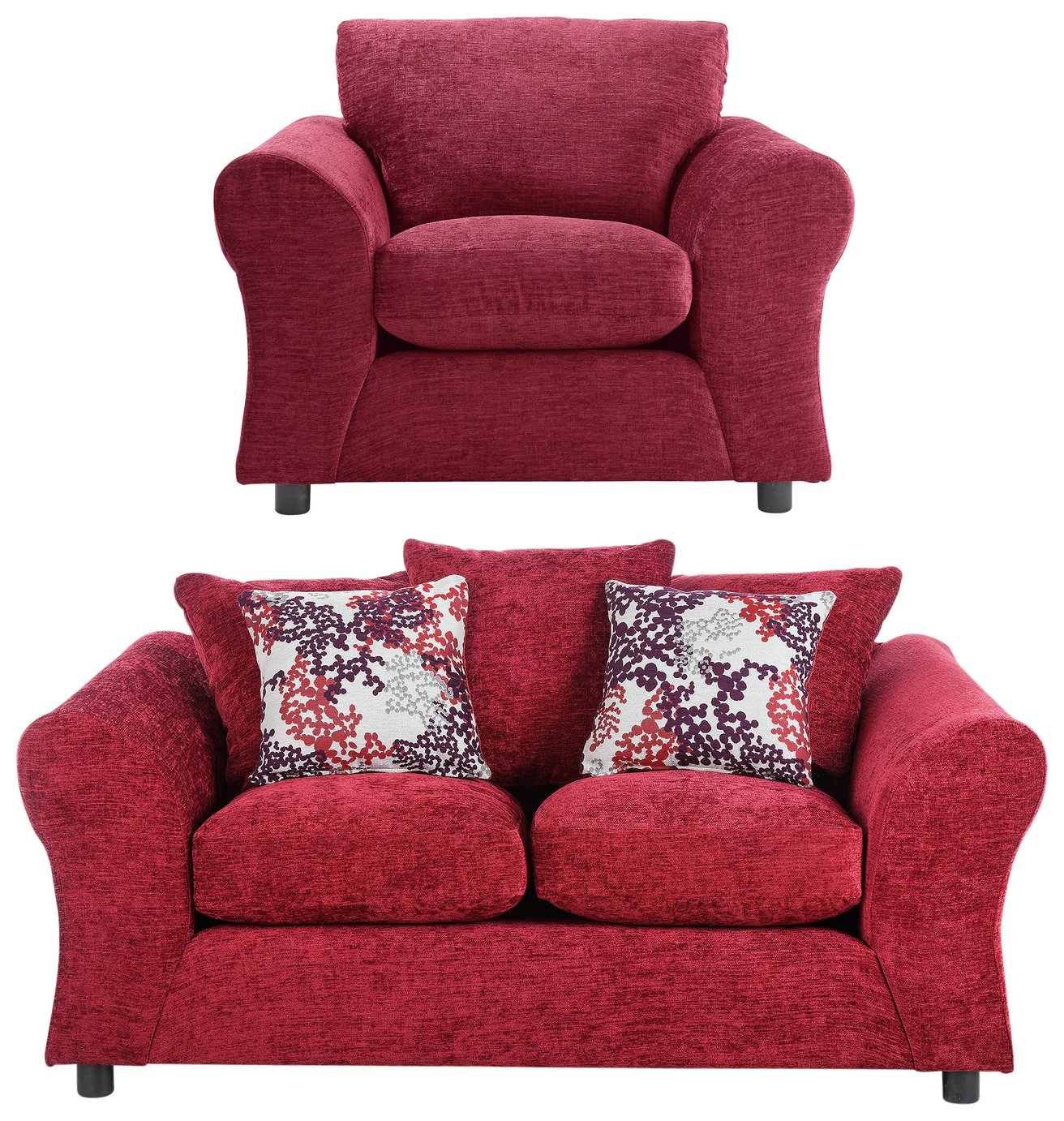 HOME New Clara Fabric 2 Seater Sofa & Chair - Red