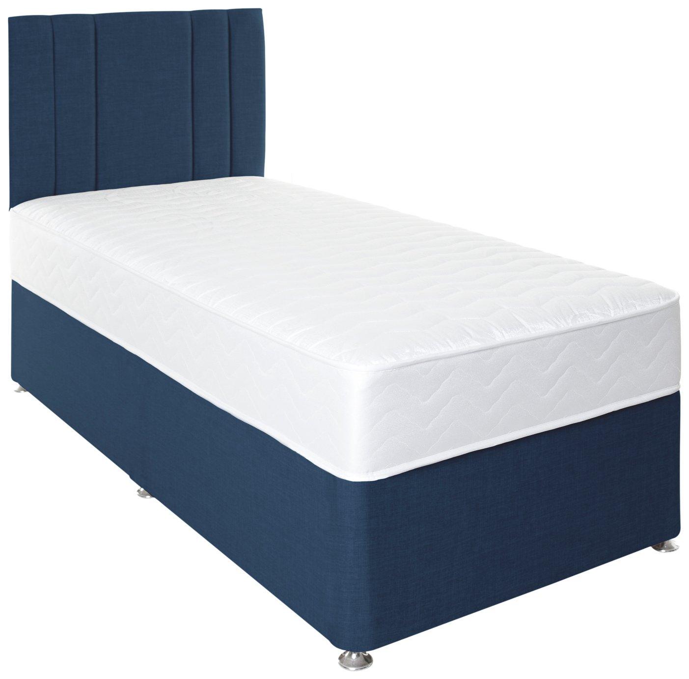 Airpsrung Henlow 1200 Memory Divan Bed and Headboard - Blue at Argos