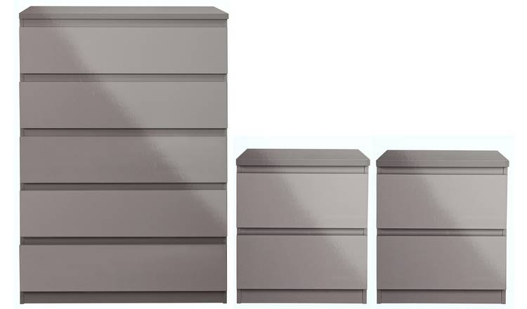 Argos Home Jenson Gloss 2 Bedside & 5 Drawer Chest Set -Grey