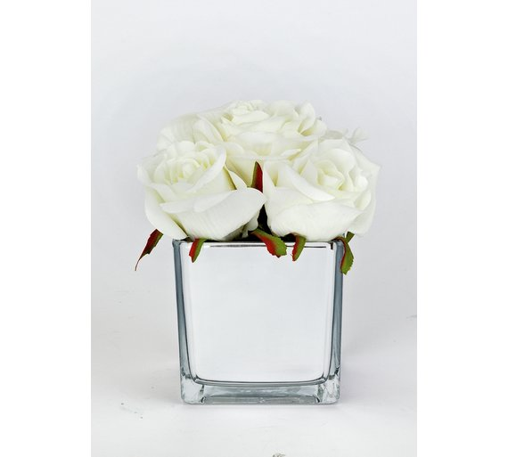 Buy Mirrored Artificial White Rose Flower Arrangement Artificial Trees