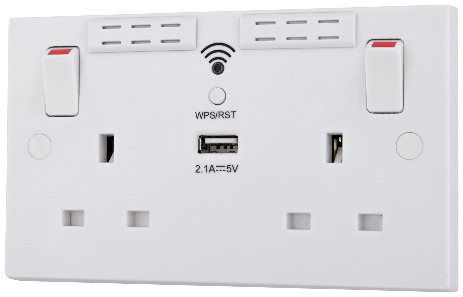 BG 2 Gang Sockets with Wi-Fi Repeater and USB Charge - White