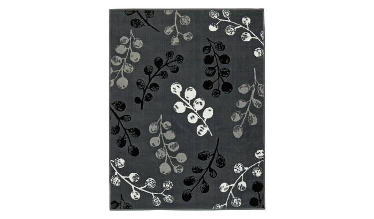 Argos Home Pod Leaf Rug - 120x160cm - Grey