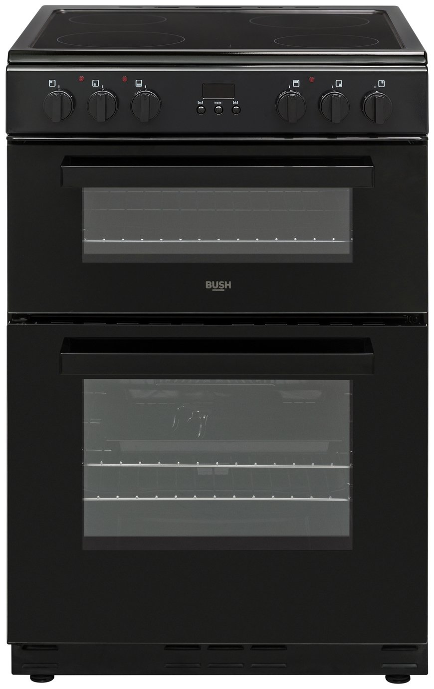 Bush BDBL60ELB 60cm Double Oven Electric Cooker - Black Best Price, Cheapest Prices