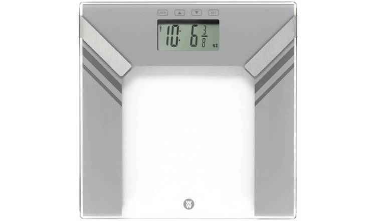 WW Precision Slim Glass Analyser Bathroom Scale - Silver