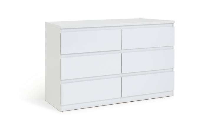 Argos Home Jenson Gloss 3+3 Drawer Chest of Drawers - White