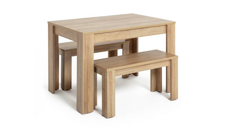 Habitat Miami Oak Effect Dining Table & 2 Benches