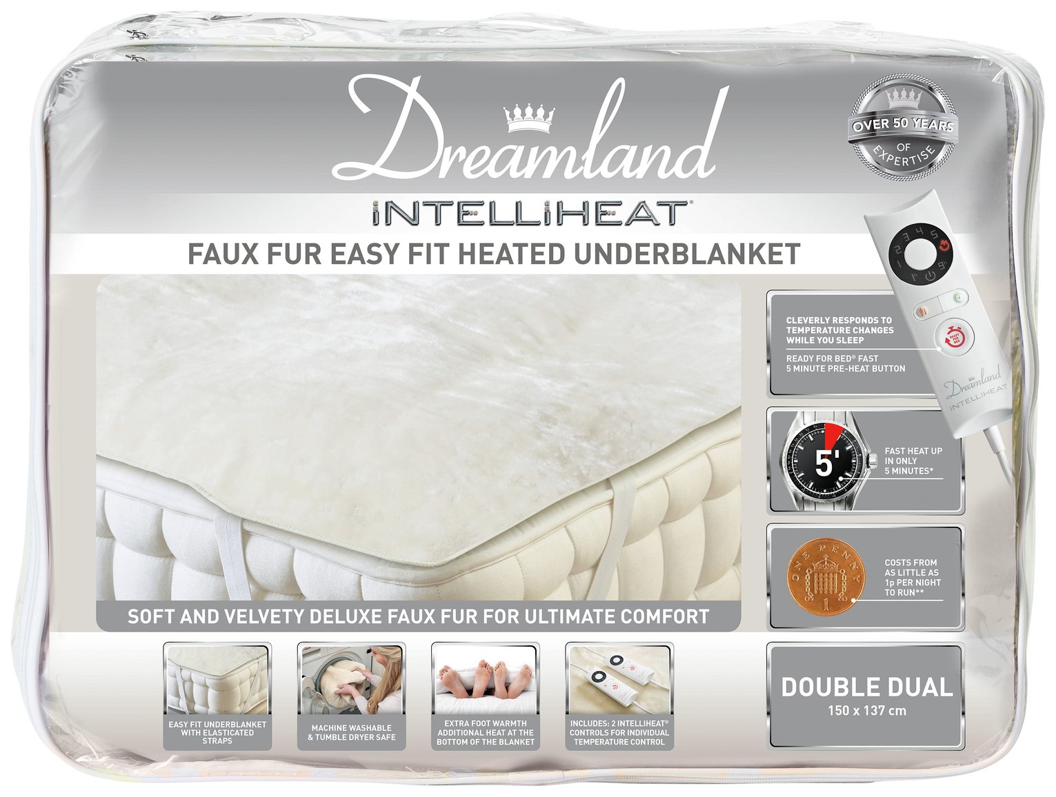 Dreamland Intelliheat Dual Control Electric Blanket - Double