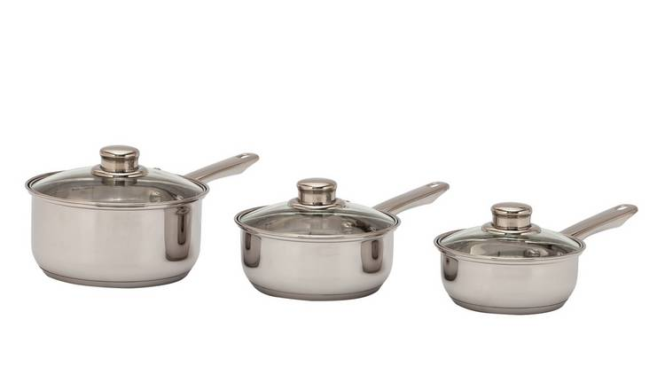Argos Home 3 Piece Stainless Steel Pan Set