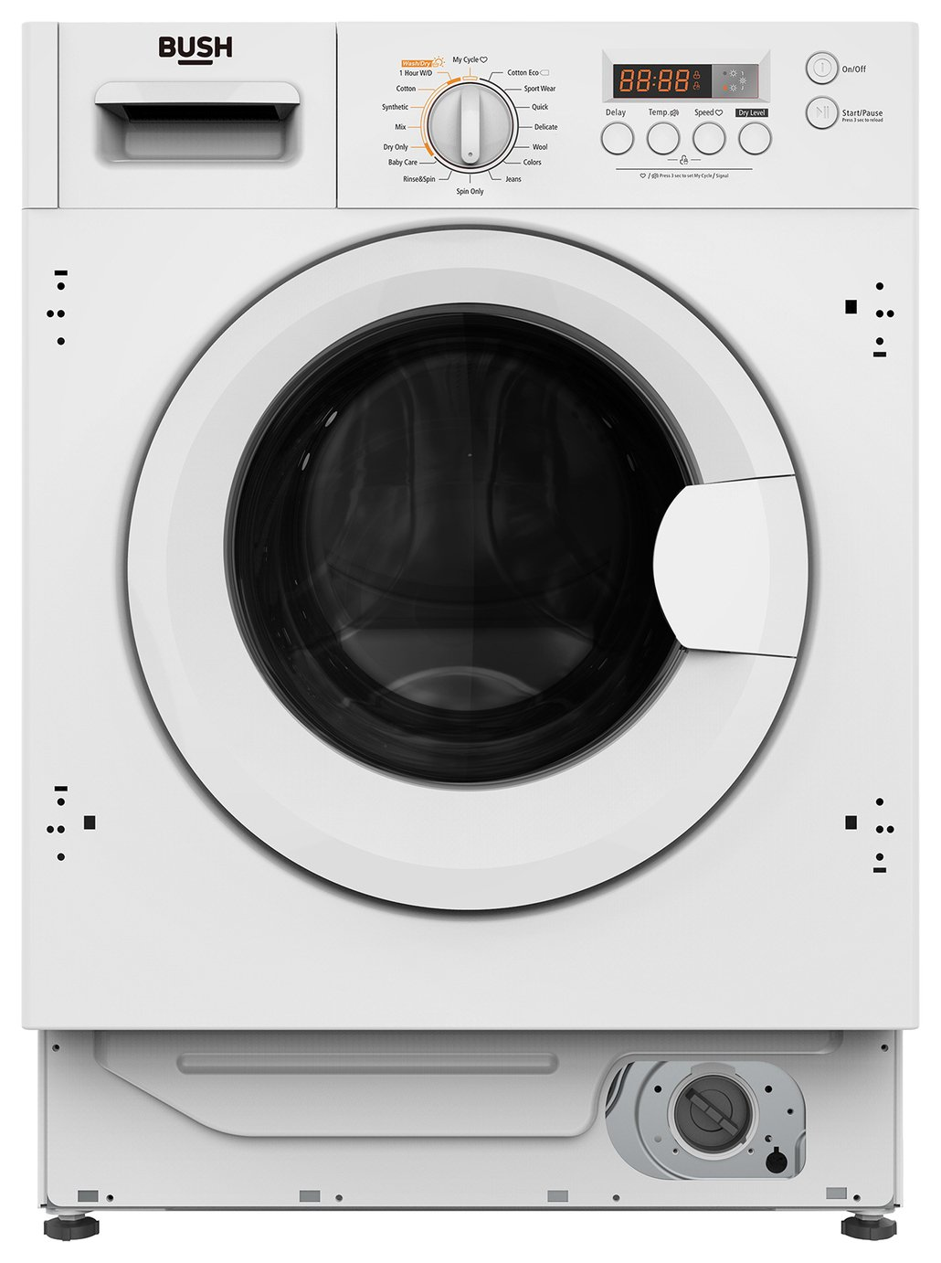 Image of Bush WDDFINT 8KG / 6KG 1400 Integrated Washer Dryer - White
