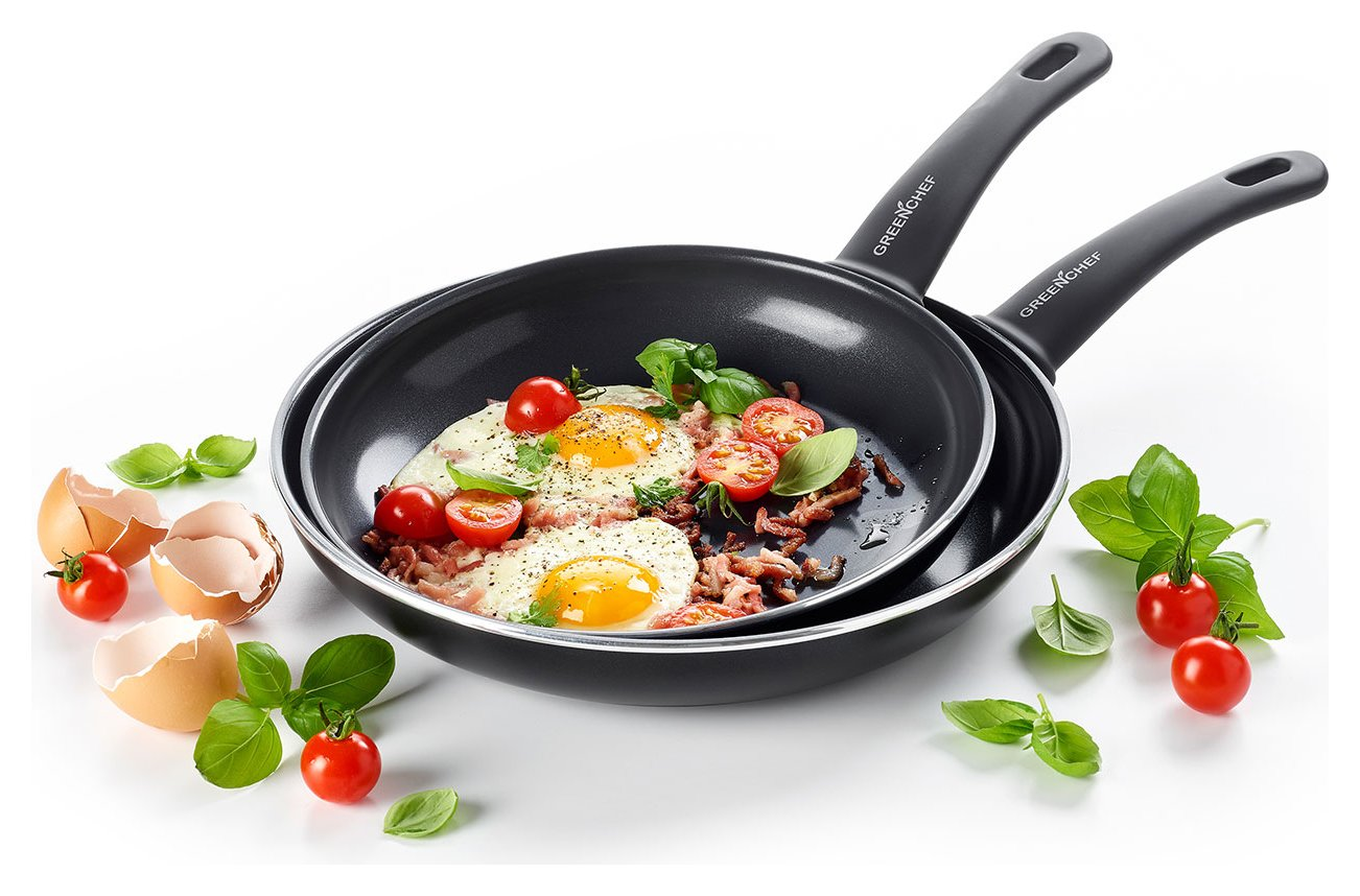 Image of Green Chef Soft Grip 24 and 28cm Frying Pan Set - Black
