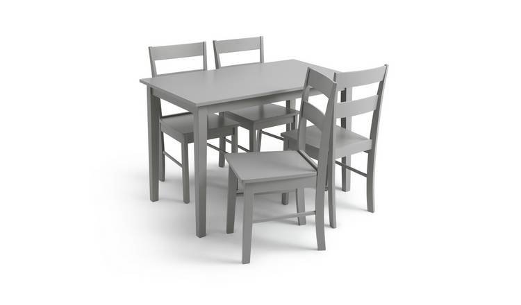 Habitat Chicago Table & 4 Chairs - Grey