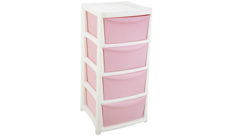 Argos Home 4 Drawer Wide Tower - Pink