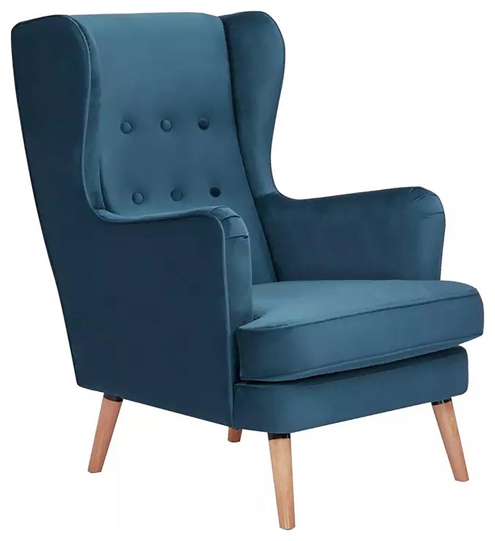 Habitat Callie Fabric Wingback Chair - Petrol Blue