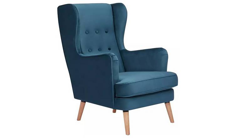 Habitat Callie Velvet Wingback Chair - Petrol Blue
