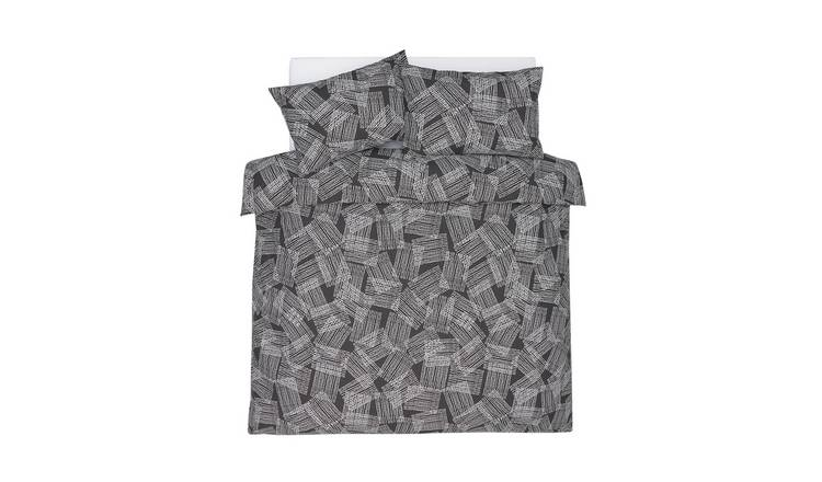 Argos Home Grey Grid Print Bedding Set - Kingsize