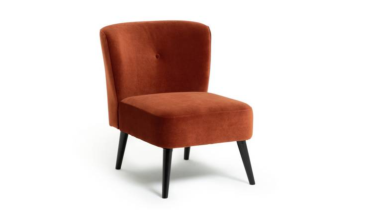 Habitat Merlot Velvet Accent Chair - Orange