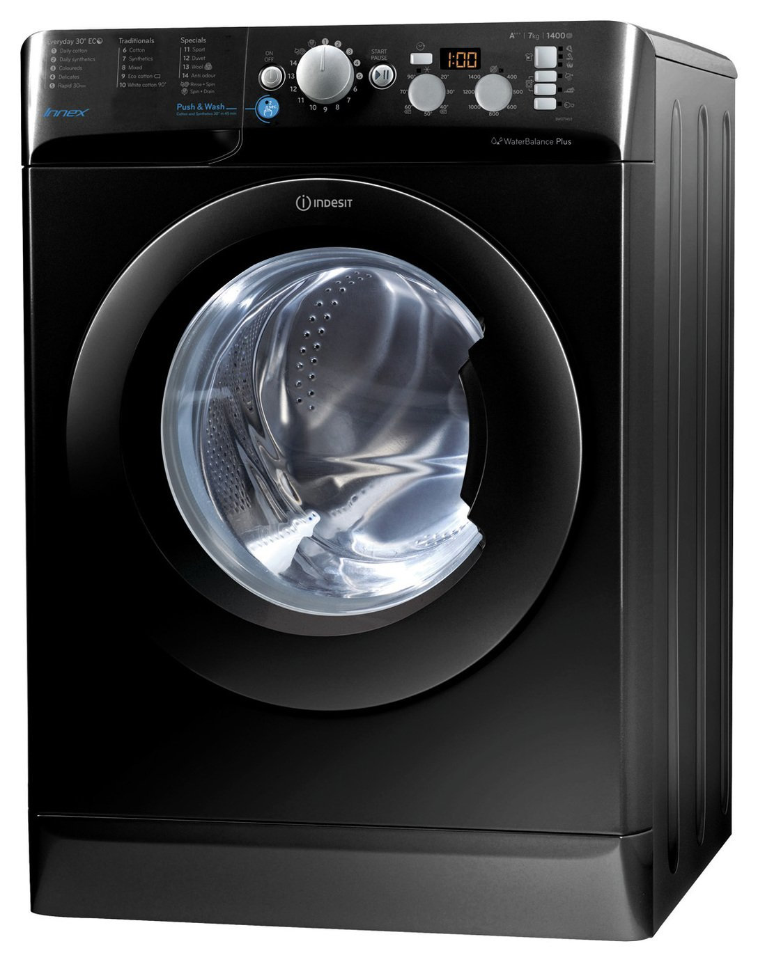 Indesit BWD71453KUK 7KG 1400 Spin Washing Machine - Black Best Price, Cheapest Prices