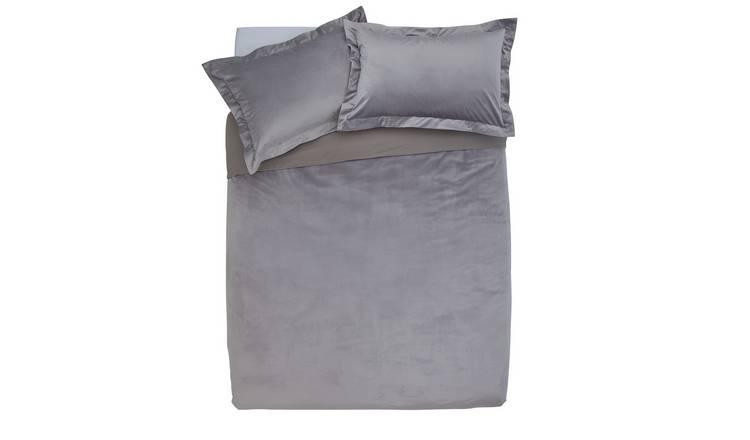 9c195b0d98858 Buy Argos Home Grey Velvet Bedding Set - Double | Duvet cover sets ...