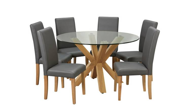 Buy Argos Home Alden Glass Dining Table 6 Charcoal Chairs Dining Table And Chair Sets Argos