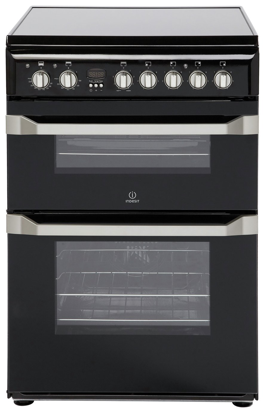 Indesit ID60C2 60cm Double Oven Electric Cooker - Black Best Price, Cheapest Prices