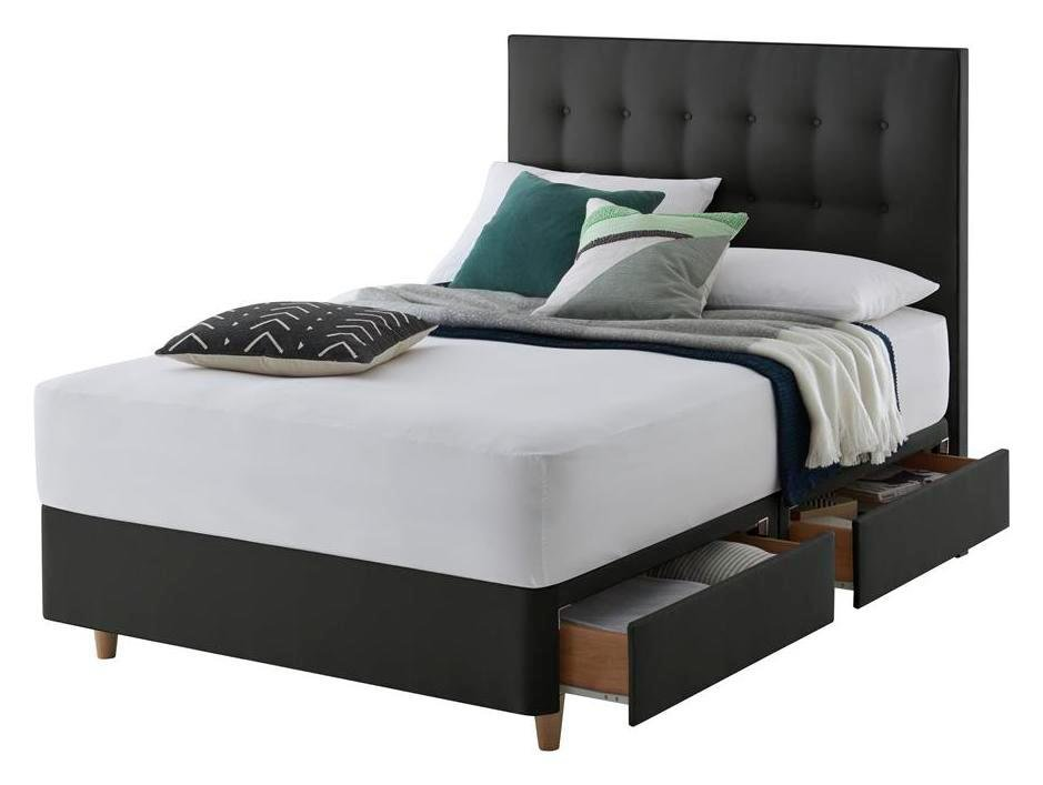Silentnight alaro 4 drw double divan headboard ebony for Silentnight divan