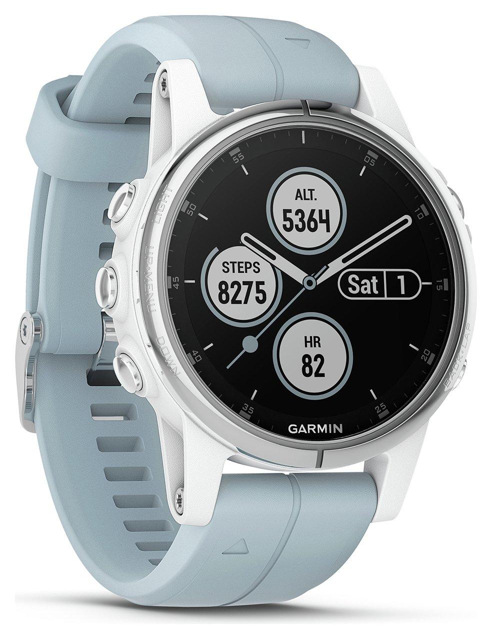 Garmin Fenix 5S Plus GPS Smart Watch - White & Teal