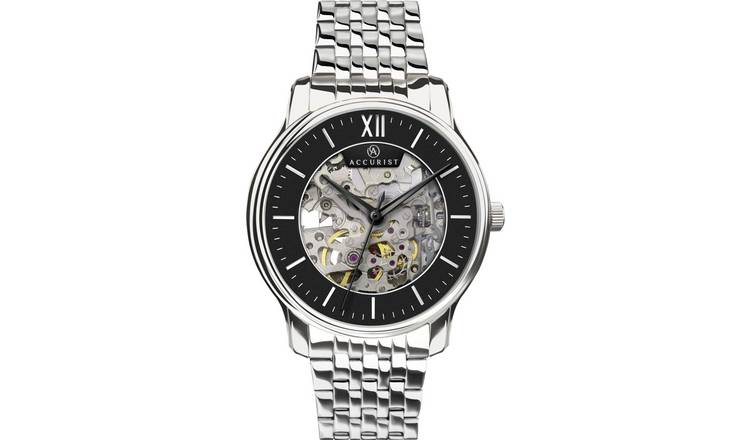 9a3f3e57d Buy Accurist Men's Silver Stainless Steel Skeleton Watch   Men's ...