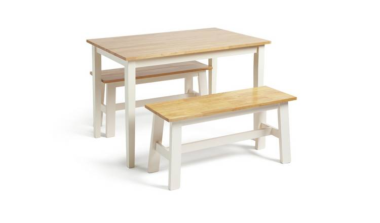 Habitat Chicago Solid Wood Table & 2 Two Tone Benches