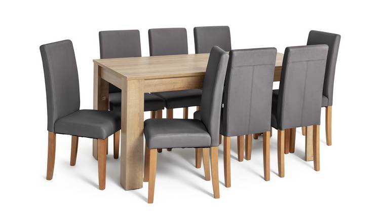 Buy Argos Home Miami XL Extending Table & 8 Charcoal Chairs | Dining Table And Chair Sets | Argos