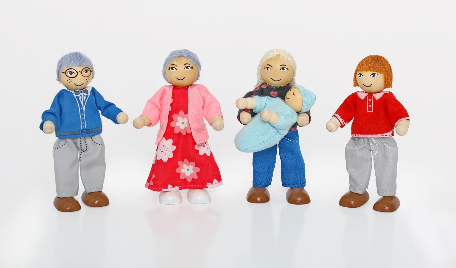 Chad Valley Wooden Dolls House Family Set