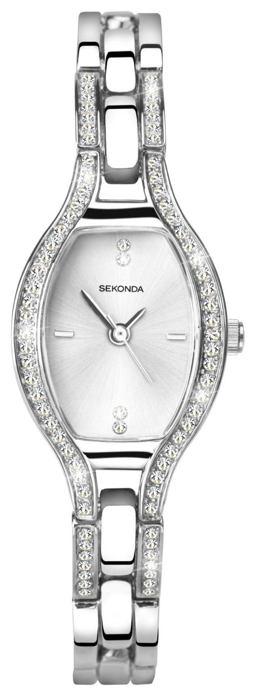 Sekonda Ladies' Silver Coloured Stone Set Bracelet Watch