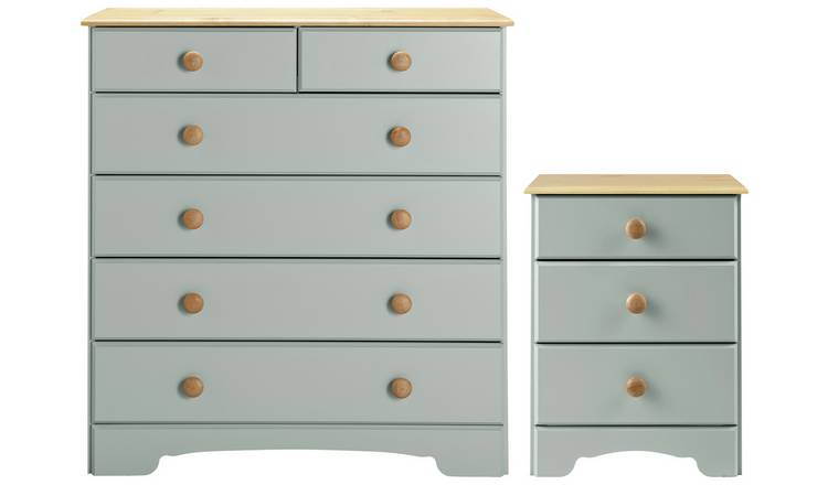 Argos Home Nordic Bedside & 4+2 Drawer Chest Set - Grey