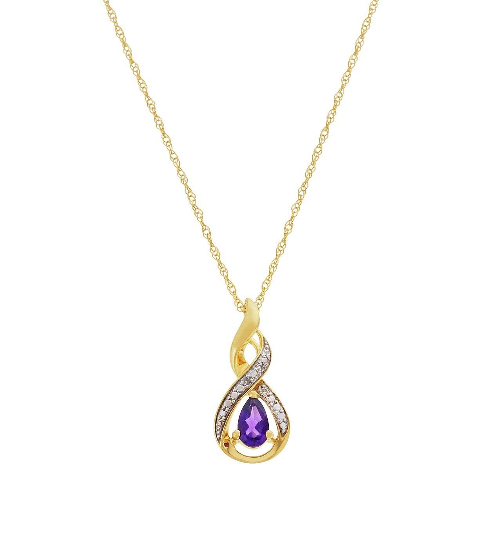 Revere 9ct Gold Amethyst & Diamond Pendant 18 Inch Necklace