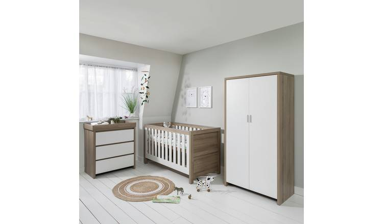 Modena 3 Piece Nursery Furniture Set - White Oak