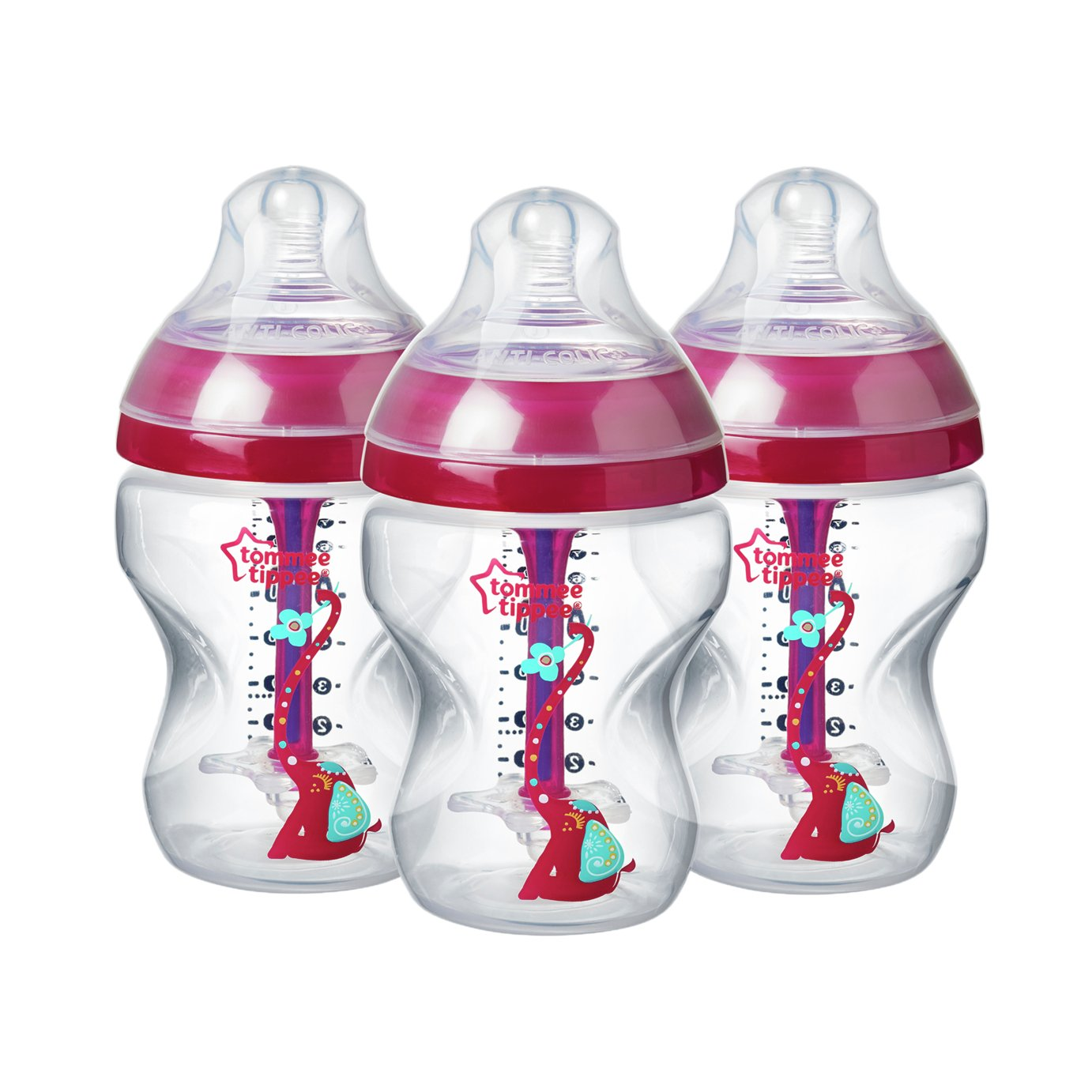 Tommee Tippee Advanced Anti-Colic Pink Bottles - 260ml x 3