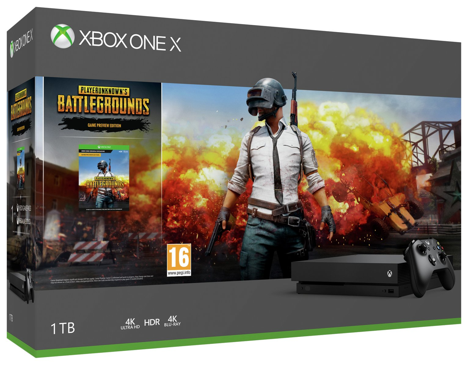 'Xbox One X Console With Pubg And One Month Game Pass Bundle