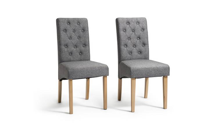 Habitat Pair of Tweed Button Back Skirted Chairs - Grey