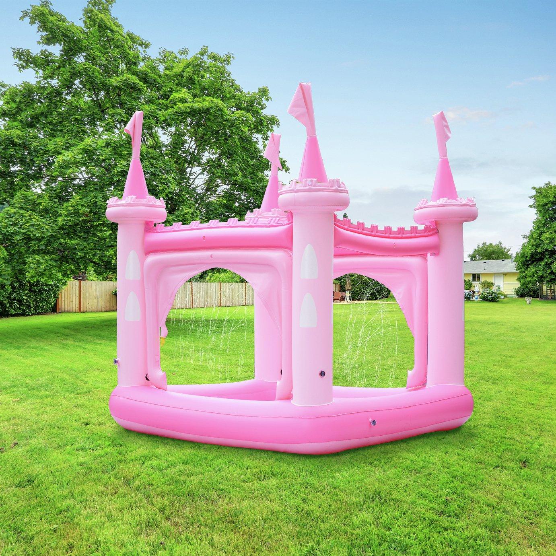 Teamson Kids 8ft Water Fun Pink Castle Kids Paddling Pool
