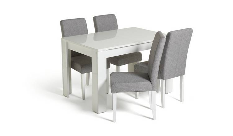 Habitat Miami Gloss Extending Table & 4 Tweed Chair -Grey