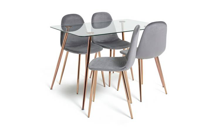 Habitat Beni Glass Dining Table & 4 Chairs - Charcoal