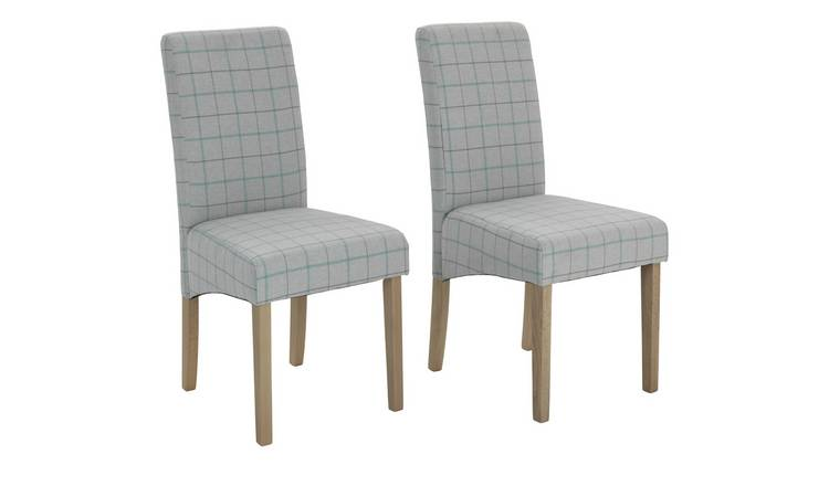 Habitat Pair of Skirted Dining Chairs - Light Grey Check