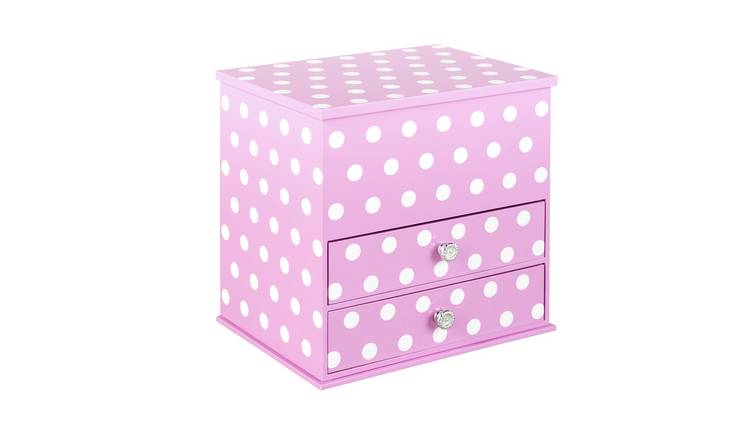 Mele Purple Polka Dot Jewellery Box - 2 Drawers