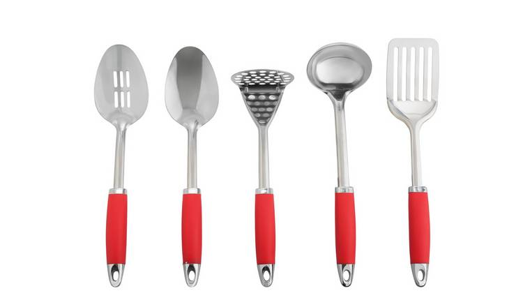 Argos Home 5 Piece Stainless Steel Utensils and Caddy - Red