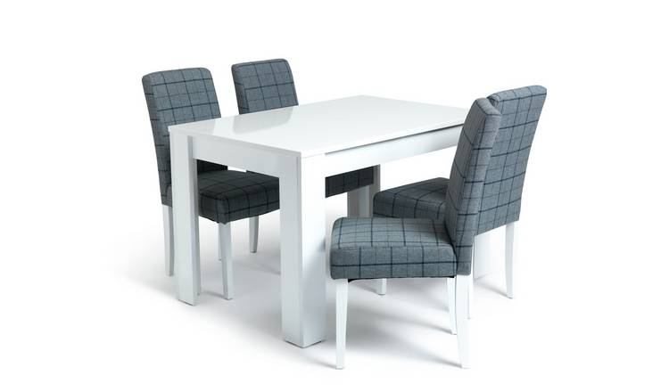 Habitat Miami Gloss Extending Table & 4 Chairs - Blue