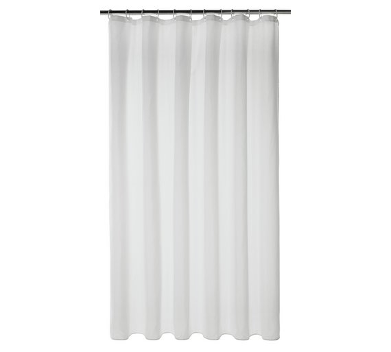 Buy home mould resistant shower curtain white at argos for Bathroom accessories argos