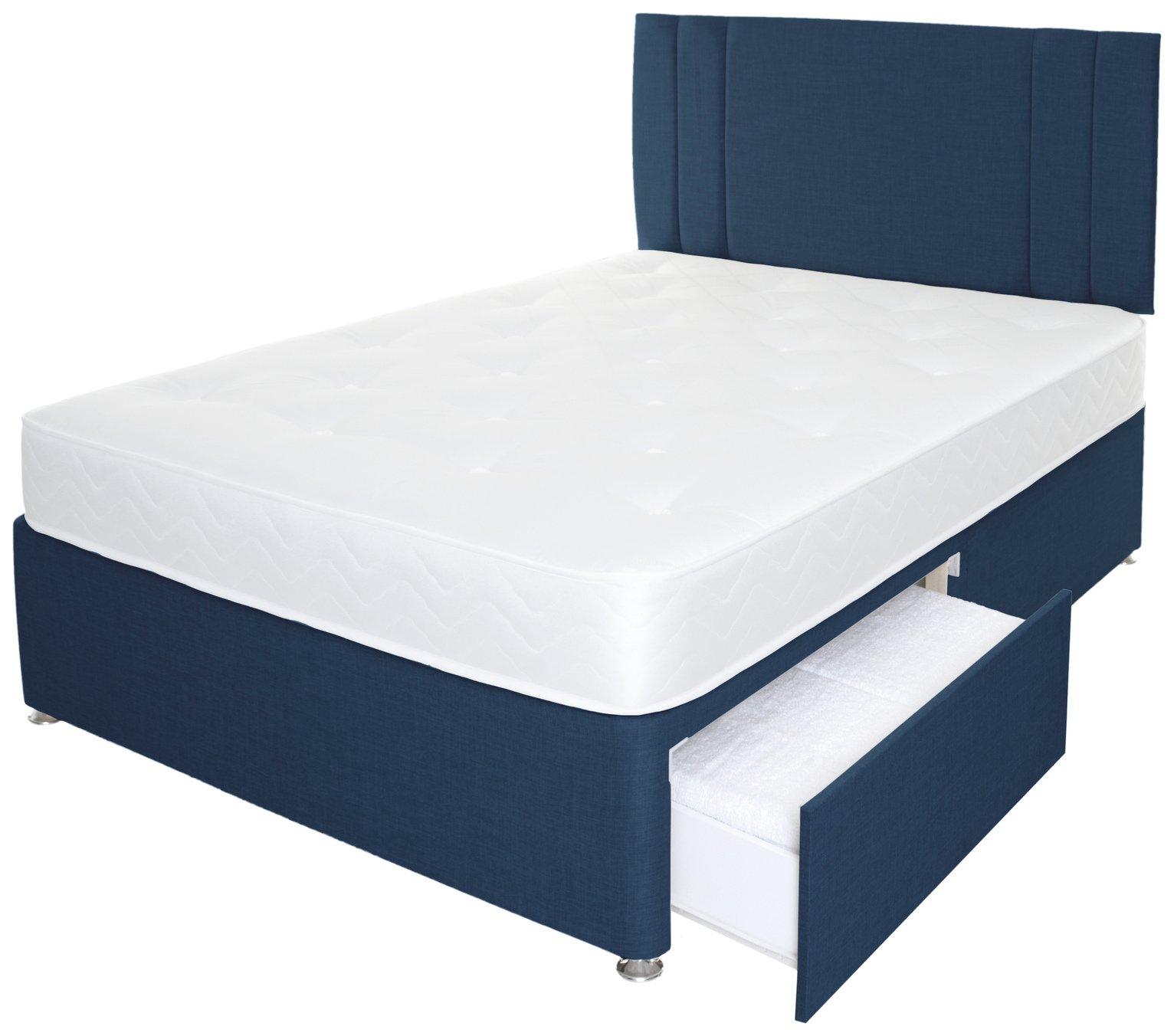 Airpsrung Henlow 1200 Pkt 2 Drw Divan Bed & Headboard - Blue at Argos