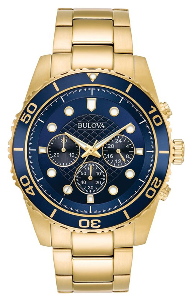 Bulova Men's Gold Plated Stainless Steel Chronograph Watch