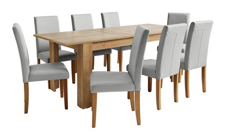 Argos Home Miami Extendable XL Dining Table 8 Chairs Grey