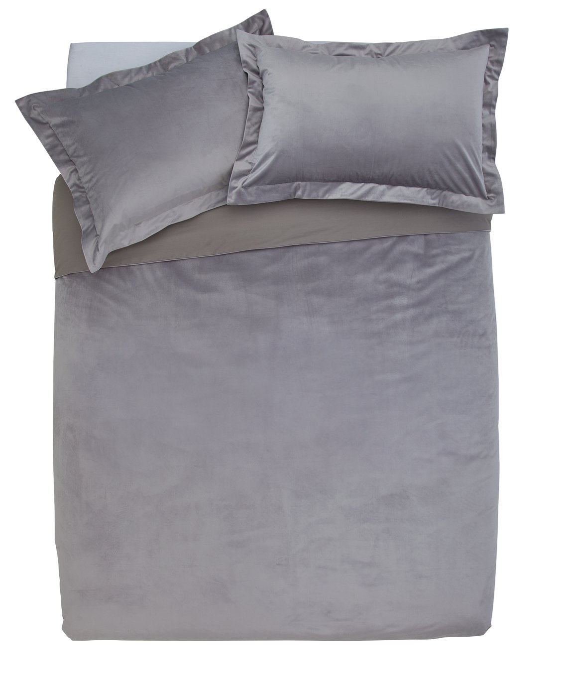 Argos Home Grey Velvet Bedding Set - Superking