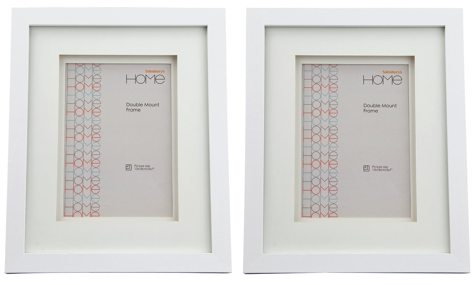 Set of 2 5x7 Inch Double Mount Frames - White